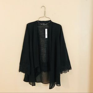 NWT Black Lace Accent Cardigan
